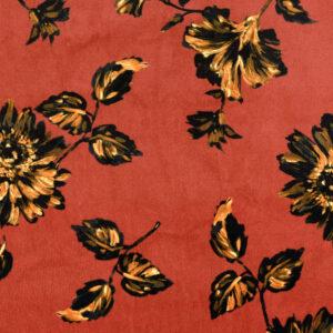 weiches Velourlederimitat, Fellabseite, Blumen und Blüten, Terracotta, Gelbtöne