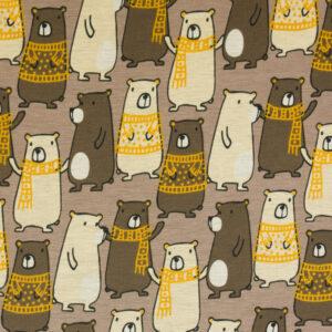 Alpenfleece, Bären, Braun, Beige dunkel, Creme, Gelb