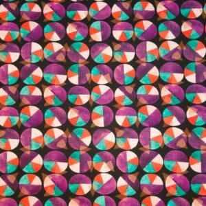 Baumwolljersey, grafisch gemustert, Lila, Grün, Rot, Schwarz