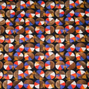Baumwolljersey, grafisch gemustert, Schwarz, Rot, Lila, Brauntöne