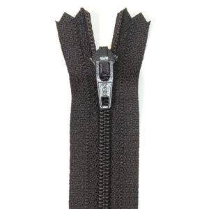 Reißverschluss, nicht teilbar, Kunststoff, Schwarzbraun, 18 cm