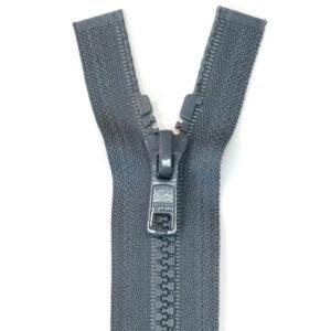 Reißverschluss, teilbar, Kunststoff, Schiefergrau, 60 cm