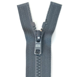 Reißverschluss, teilbar, Kunststoff, Schiefergrau, 70 cm