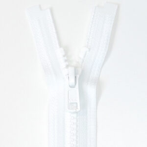 Reißverschluss, teilbar, Kunststoff, Weiß, 40 cm