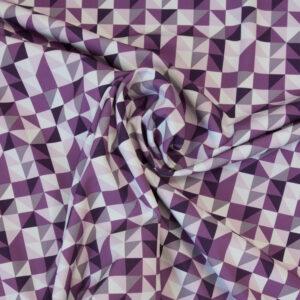 Softshell, geometrisch gemustert, Lilatöne, Weiß