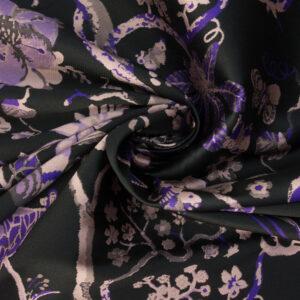edler Jacquard, floral gemustert, Lila, Schwarz, Rosa